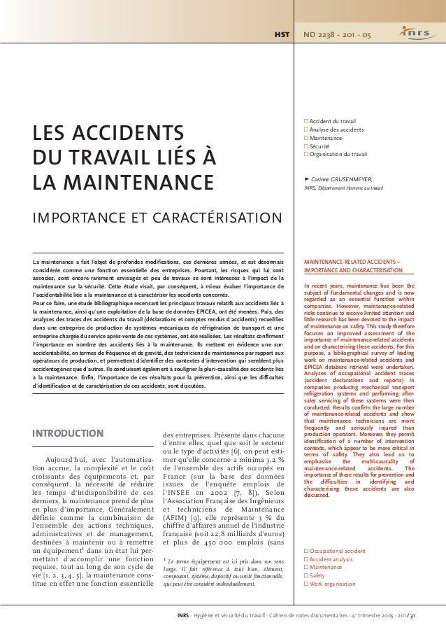 ND 2238 - 201 - 05HST INRS - Hygiène et sécurité du travail - Cahiers de notes documentaires - 4e trimestre 2005 - 201 / 3...