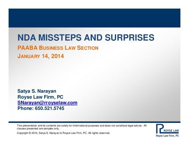 PAABA Business Law Section NDA Misssteps and Surprises