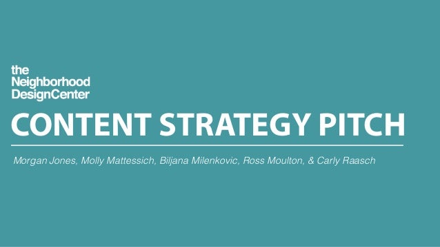 CONTENT STRATEGY PITCH Morgan Jones, Molly Mattessich, Biljana Milenkovic, Ross Moulton, & Carly Raasch