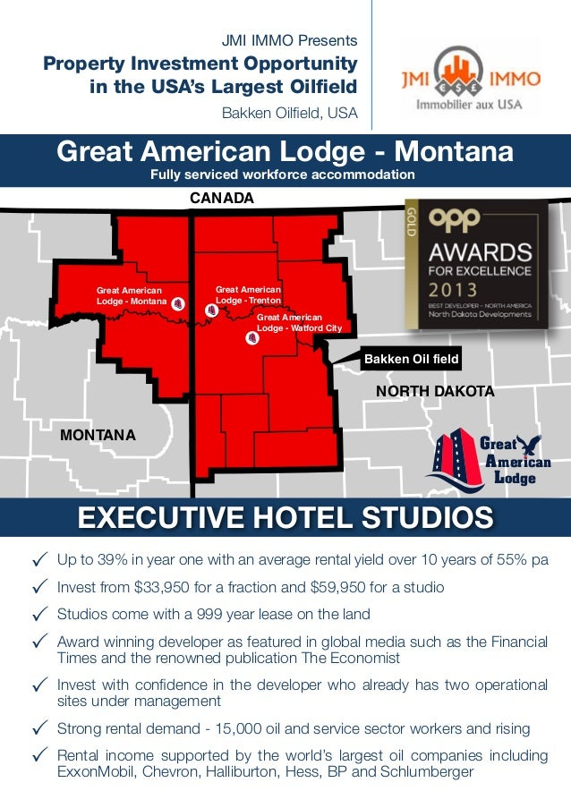 JMI IMMO Presents  Property Investment Opportunity in the USA's Largest Oilfield Bakken Oilfield, USA  Great American Lodg...
