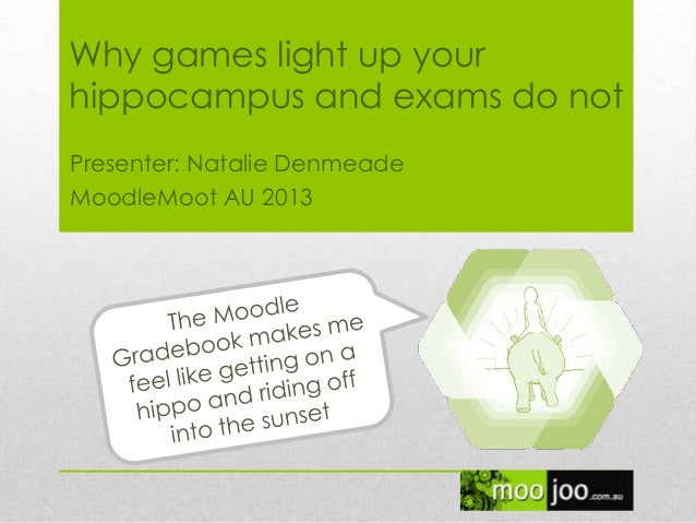 Why games light up your hippocampus and exams do not Presenter: Natalie Denmeade MoodleMoot AU 2013
