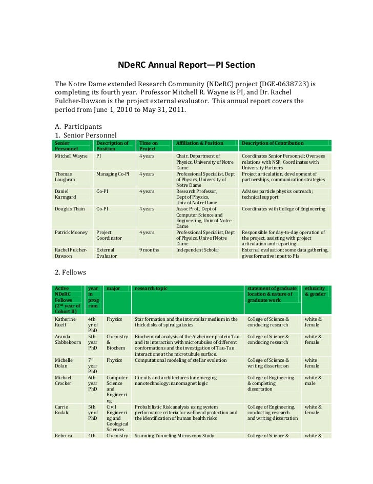 NDeRC Annual Report—PI Section<br />The Notre Dame extended Research Community (NDeRC) project (DGE-0638723) is completing...