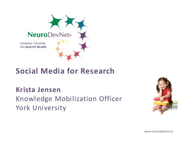 WORKING TOGETHER FOR HEALTHY BRAINS  Social Media for Research Krista Jensen Knowledge Mobilization Officer York Universit...