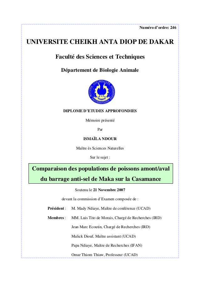 Numéro d'ordre: 246 UNIVERSITE CHEIKH ANTA DIOP DE DAKAR Faculté des Sciences et Techniques Département de Biologie Animal...