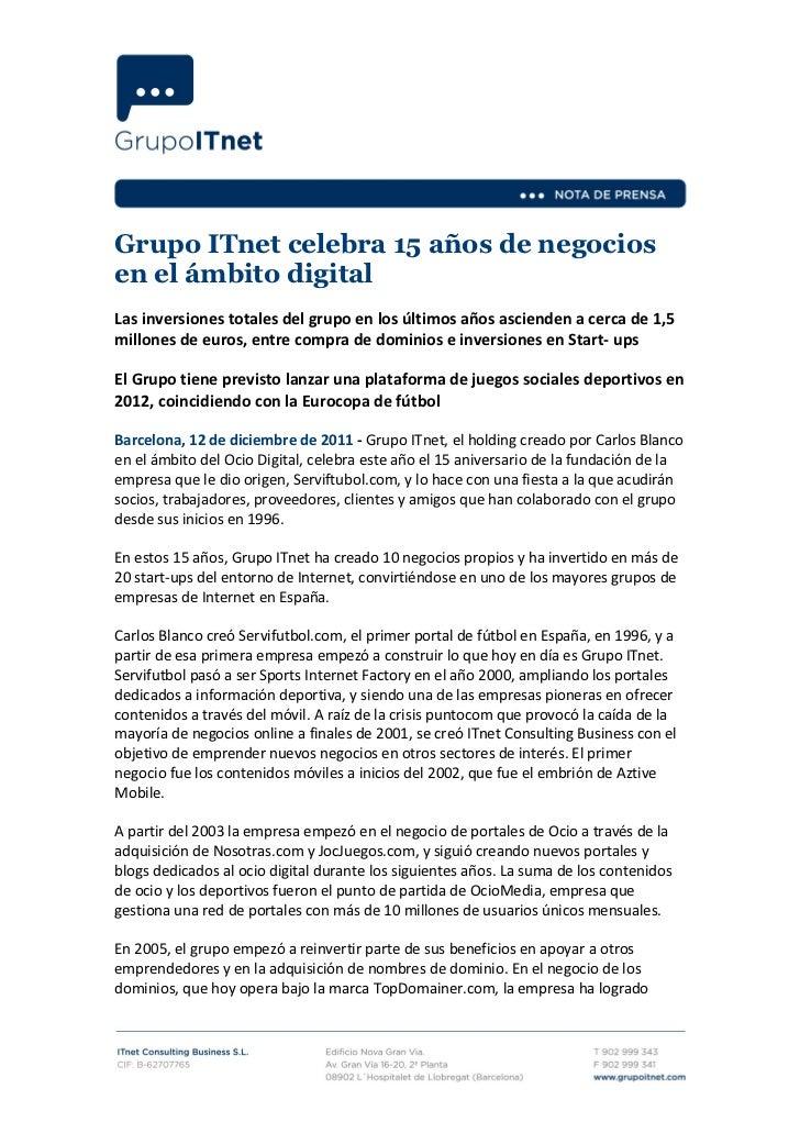 Ndp- Grupo ITnetcelebra 15 años de negocios en el ámbito digital