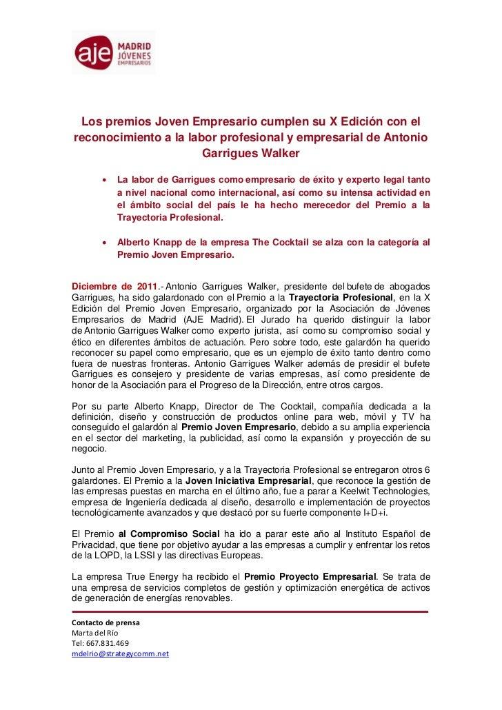 Los premios Joven Empresario cumplen su X Edición con elreconocimiento a la labor profesional y empresarial de Antonio    ...