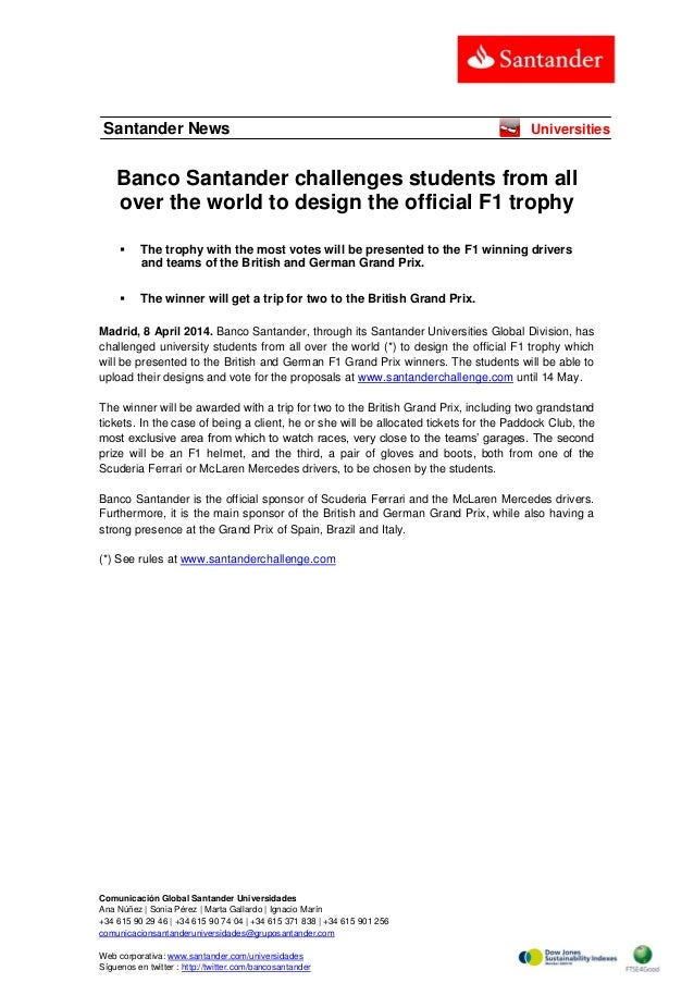 Banco Santander challenges students from all over the world to design the official F1 trophy