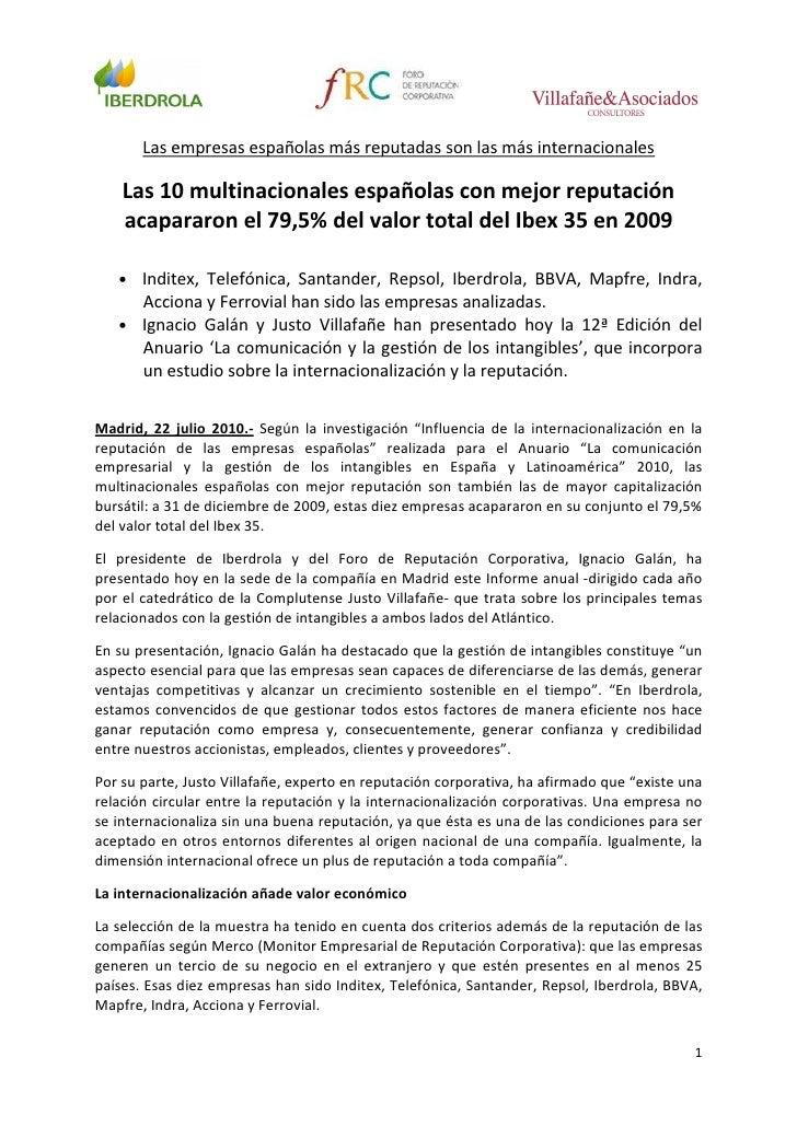 Las empresas españolas más reputadas son las más internacionales      Las 10 multinacionales españolas con mejor reputació...