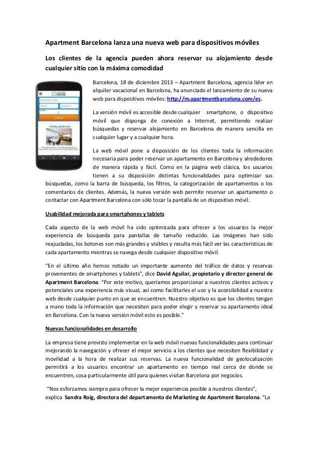 Apartment Barcelona lanza una nueva web para dispositivos móviles Los clientes de la agencia pueden ahora reservar su aloj...