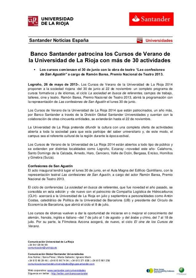 Banco Santander patrocina los Cursos de Verano de la Universidad de La Rioja con más de 30 actividades
