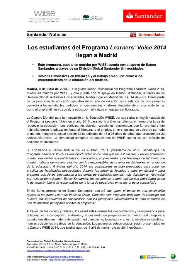 Los estudiantes del Programa Learners' Voice 2014  llegan a Madrid