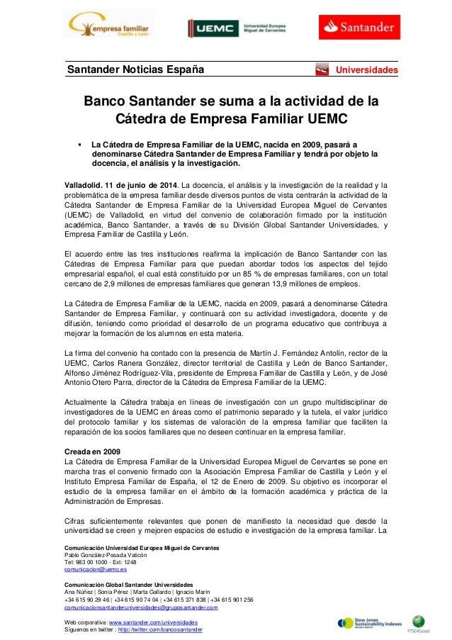 Banco Santander se suma a la actividad de la Cátedra de Empresa Familiar UEMC