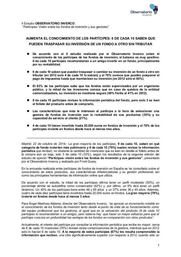"""II Estudio OBSERVATORIO INVERCO:  """"Partícipes: Visión sobre los fondos de inversión y sus gestores""""  AUMENTA EL CONOCIMIEN..."""