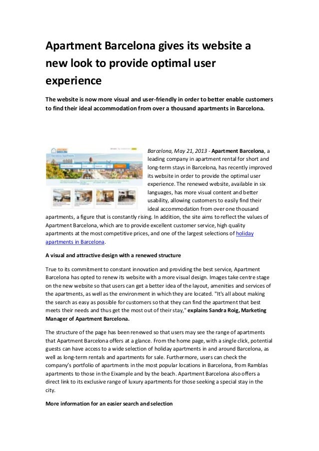 Apartment Barcelona gives its website anew look to provide optimal userexperienceThe website is now more visual and user-f...
