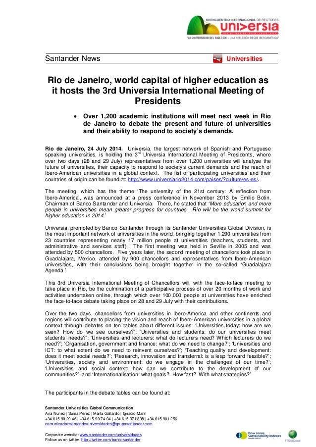 Santander Universities Global Communication Ana Nunez   Sonia Perez   Marta Gallardo   Ignacio Marin +34 615 90 29 46   +3...