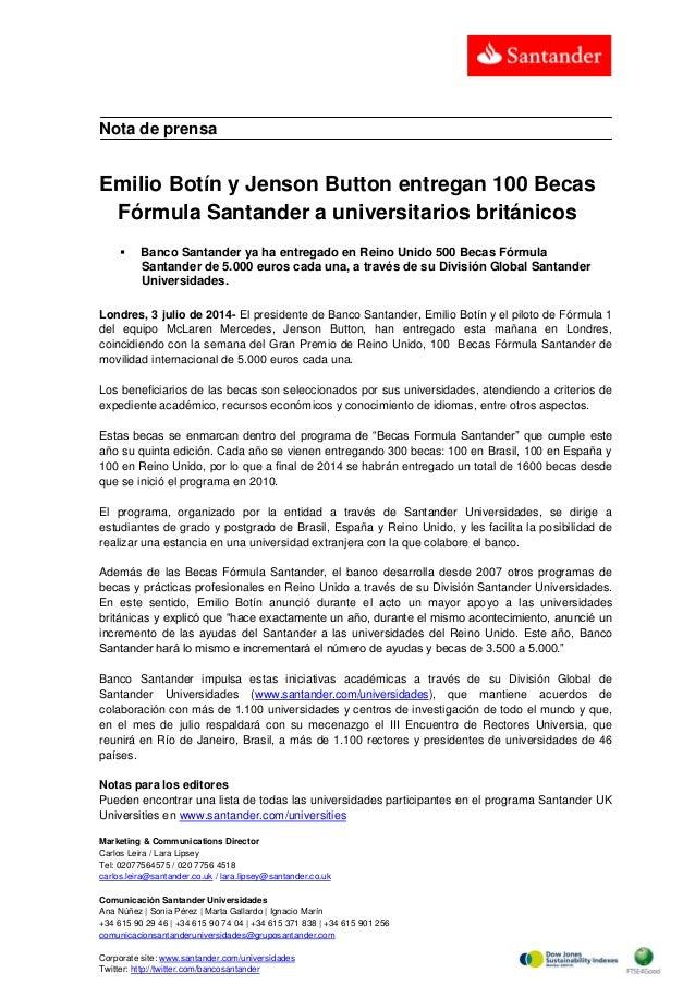 Emilio Botín y Jenson Button entregan 100 Becas Fórmula Santander a universitarios británicos