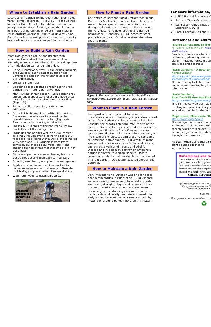 Where to Establish a Rain Garden                            How to Plant a Rain Garden                               For m...