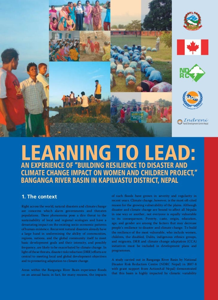 """Learning to Lead:an experience of """"BuiLding resiLience to disaster andcLimate change impact on Women and chiLdren project,..."""