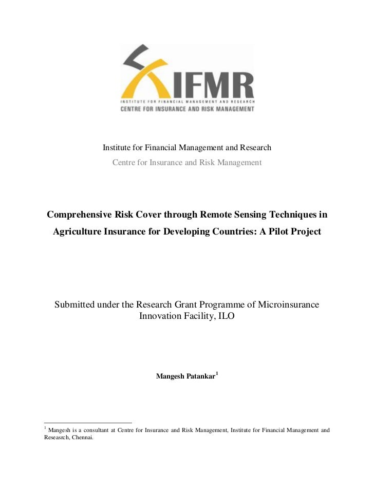 Institute for Financial Management and Research<br />Centre for Insurance and Risk Management<br />Comprehensive Risk Cove...