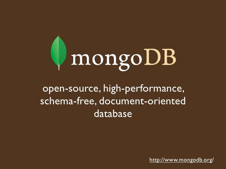 New England Database Summit talk on MongoDB