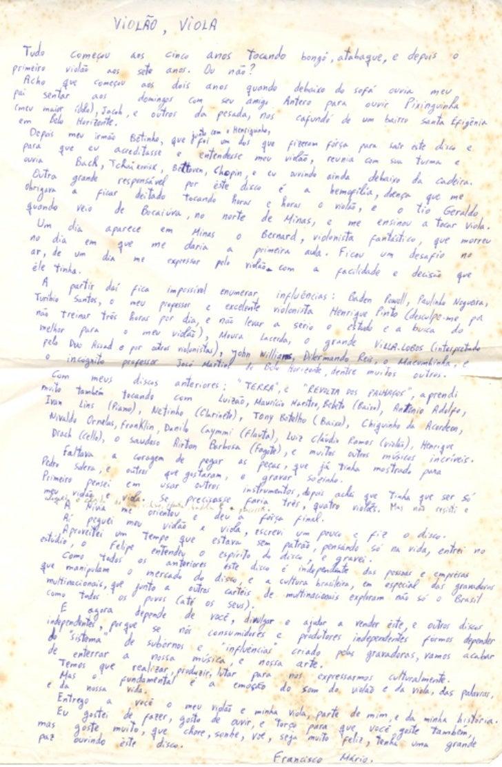 [Ne10] Resumo de vida e obra escrita a punho por Chico Mário