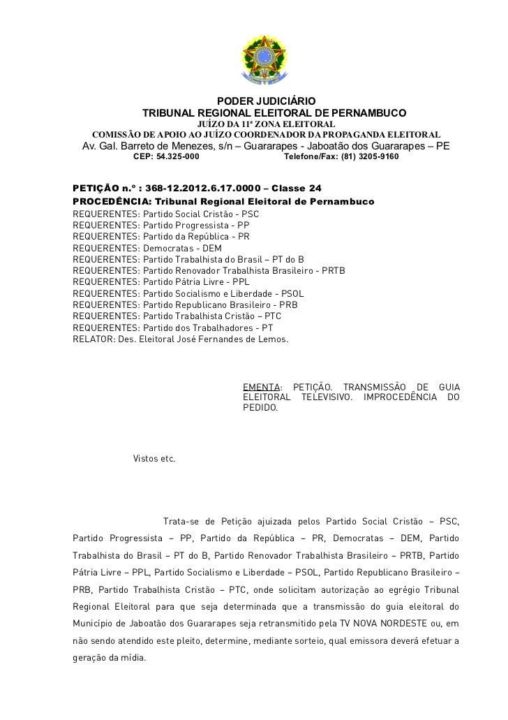 PODER JUDICIÁRIO                TRIBUNAL REGIONAL ELEITORAL DE PERNAMBUCO                       JUÍZO DA 11ª ZONA ELEITORA...