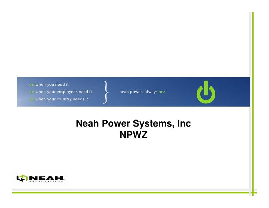 Neah Power Systems, Inc         NPWZ                              1
