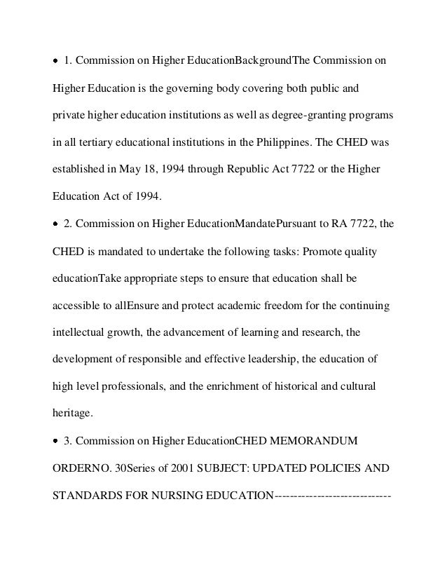1. Commission on Higher EducationBackgroundThe Commission on Higher Education is the governing body covering both public a...