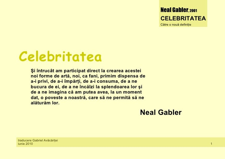 Neal Gabler, 2001                                                               CELEBRITATEA                              ...
