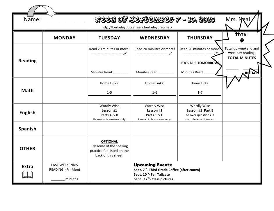 Homework Sept 7-10
