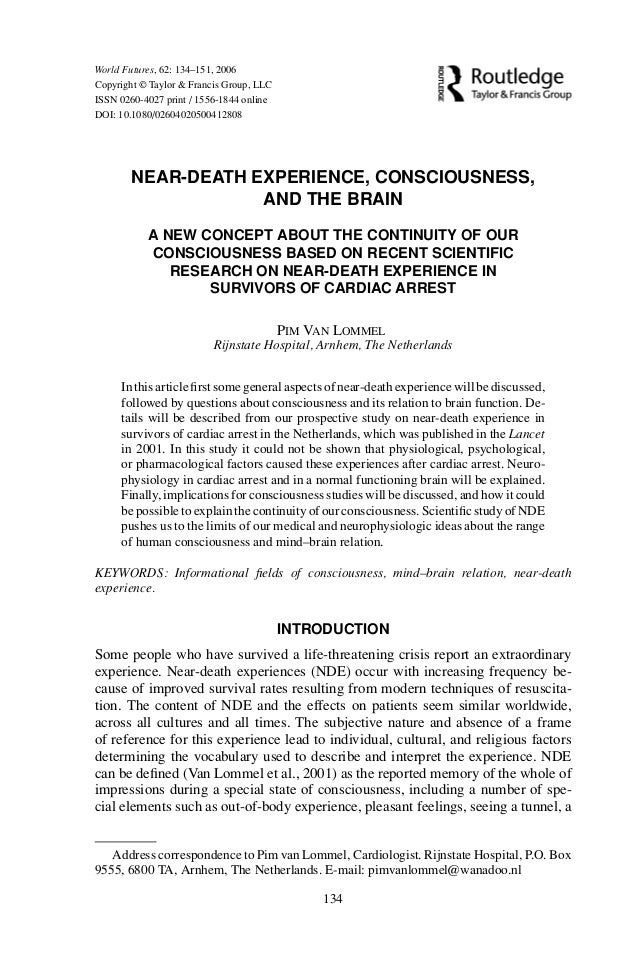 Near-death experience, consciousness, and the brain