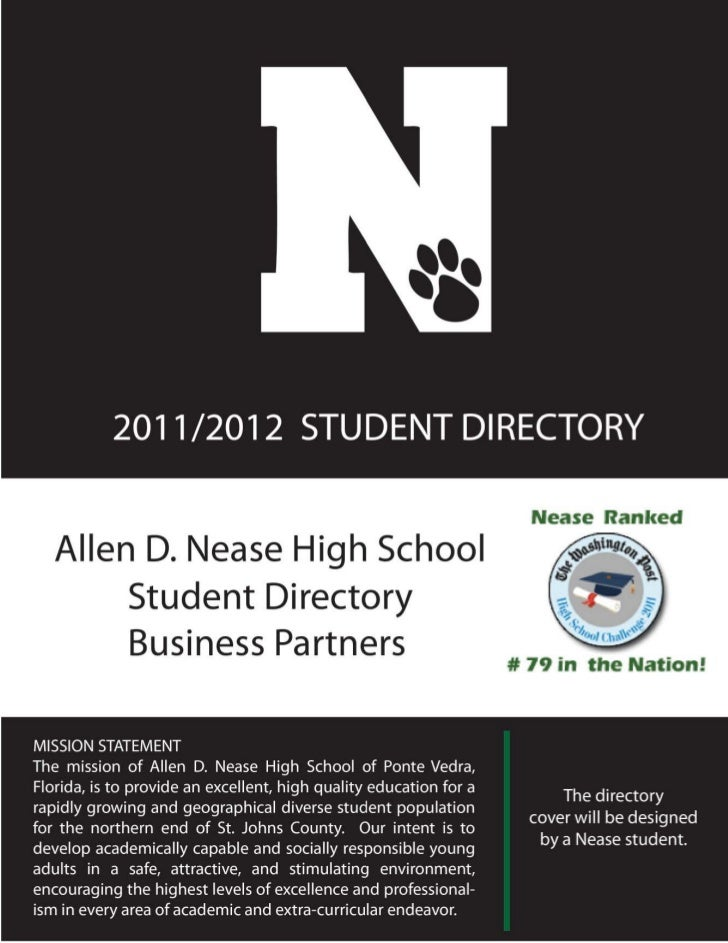"The Publicity Queen presents the ""Allen D. Nease High School"" Student Directory for 2011/2012"