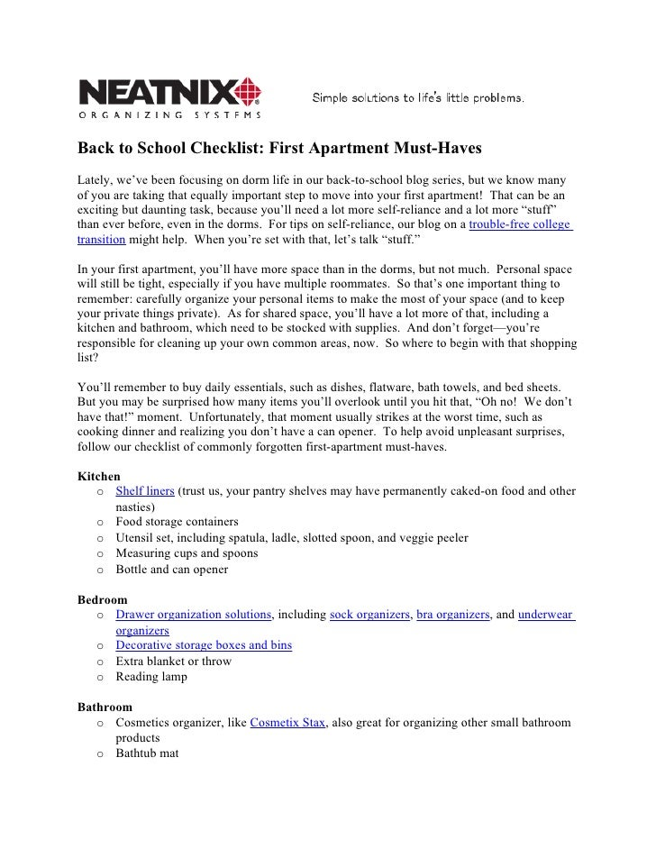 Back to School Checklist: First Apartment Must-HavesLately, we've ...