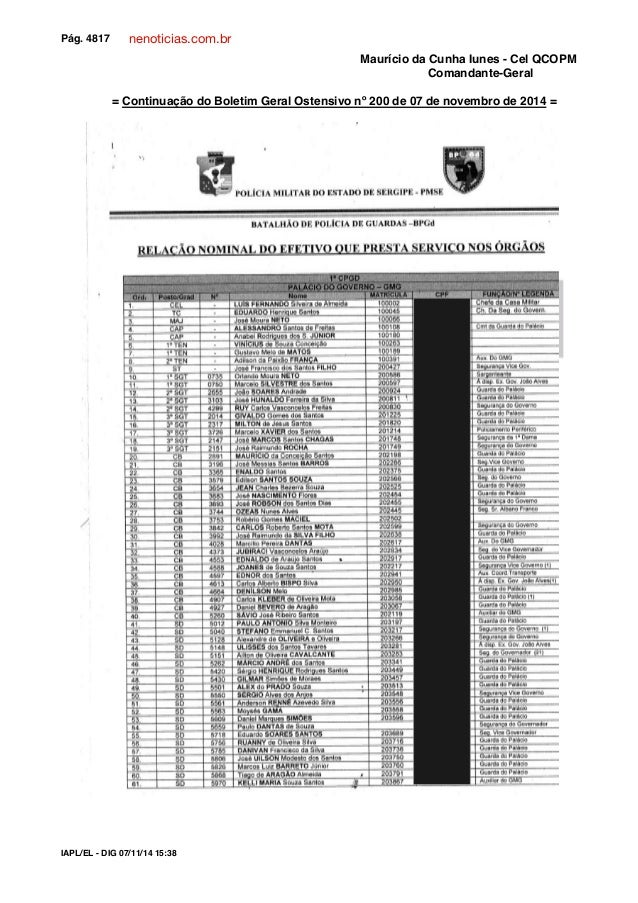 nenoticias.com.br  Pág. 4817 Confere com o original:  Maurício da Cunha Iunes - Cel QCOPM  Comandante-Geral  = Continuação...