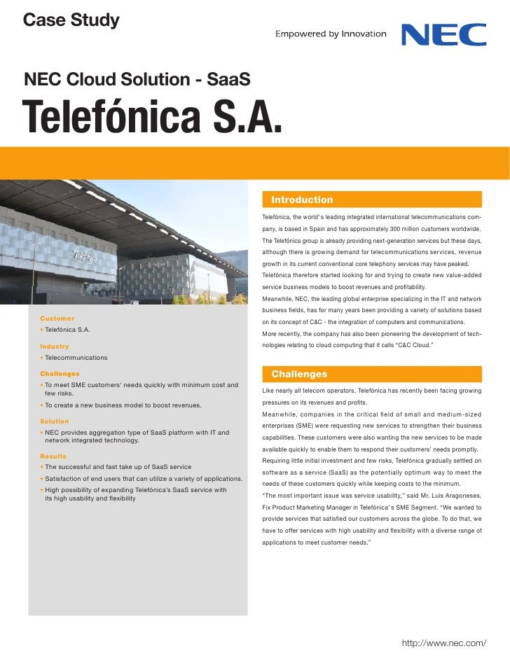 Case StudyNEC Cloud Solution - SaaSTelefónica S.A.                                                                        ...