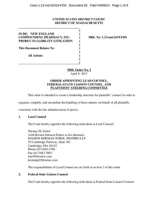 Case 1:13-md-02419-FDS Document 82 Filed 04/09/13 Page 1 of 9                       UNITED STATES DISTRICT COURT          ...