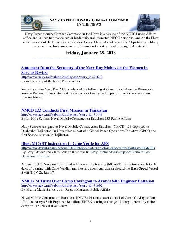 NAVY EXPEDITIONARY COMBAT COMMAND                               IN THE NEWS Navy Expeditionary Combat Command in the News ...