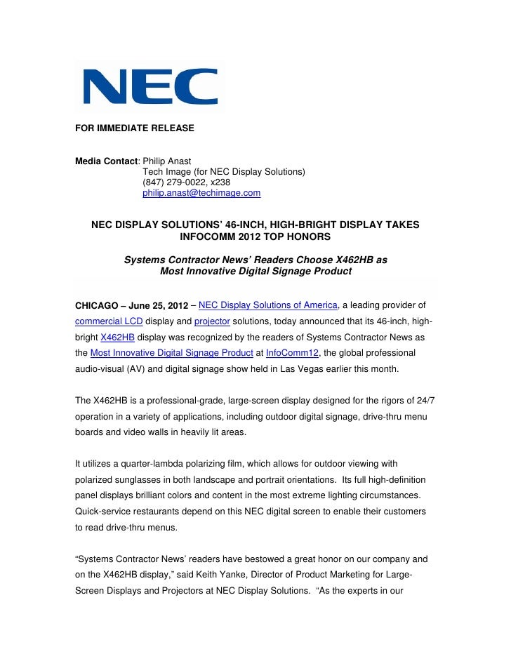 Nec display solutions' 46 inch, high-bright display takes infocomm 2012 top honors