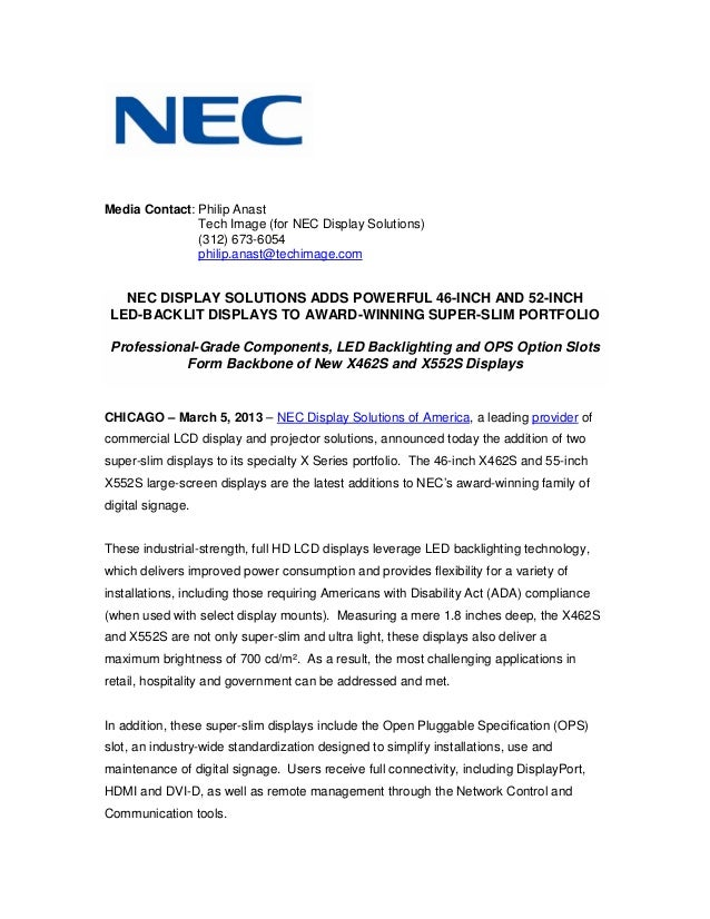 Media Contact: Philip Anast               Tech Image (for NEC Display Solutions)               (312) 673-6054             ...