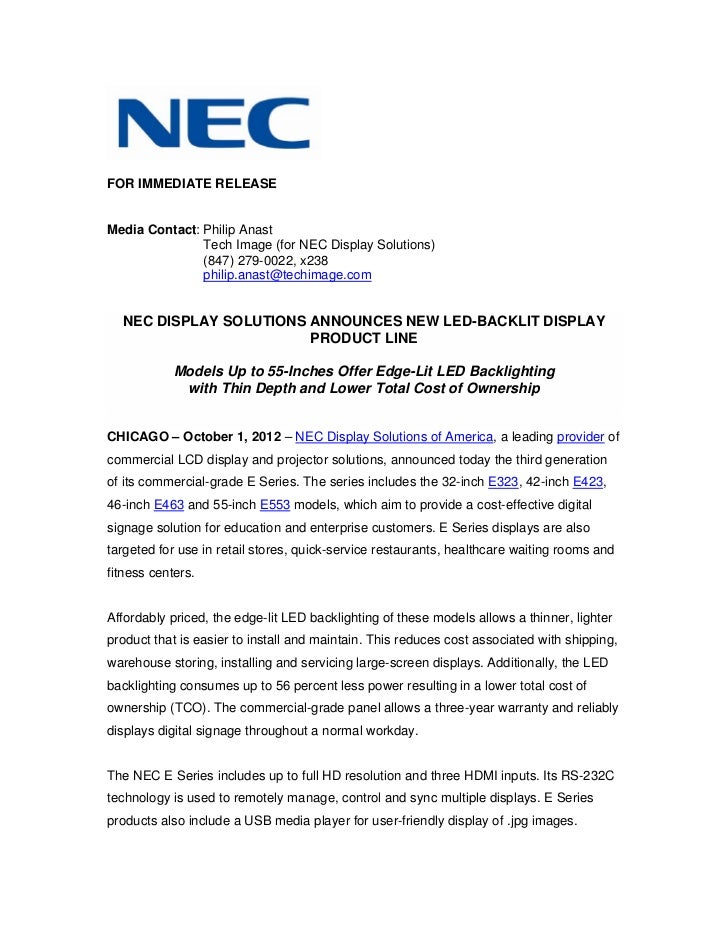 Nec display solutions announces new led backlit display product line .pdf