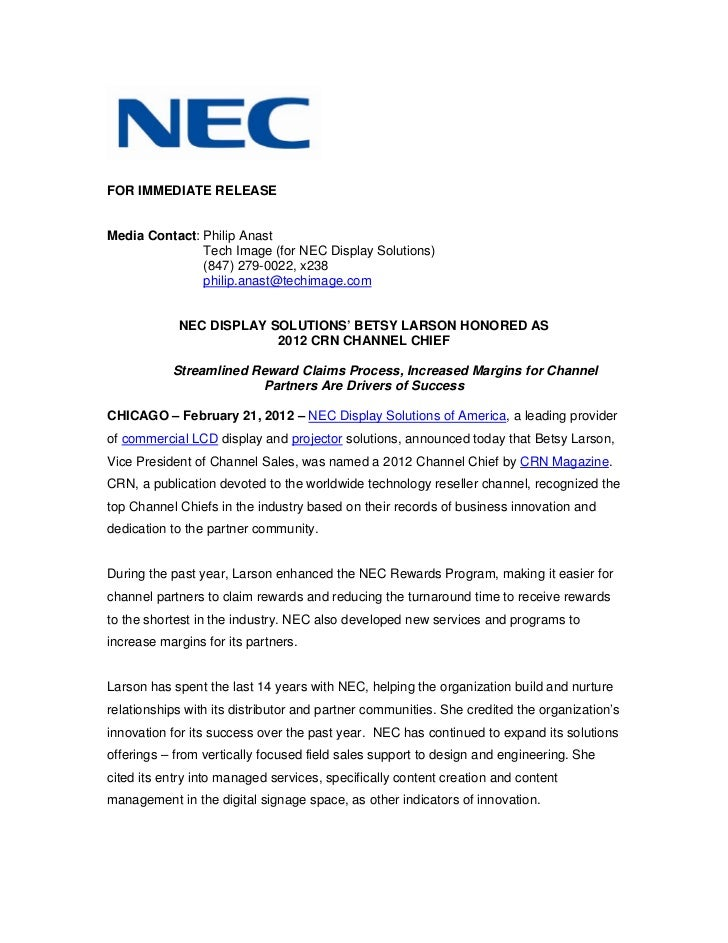 Nec display solutions' betsy larson honored as 2012 crn channel chief