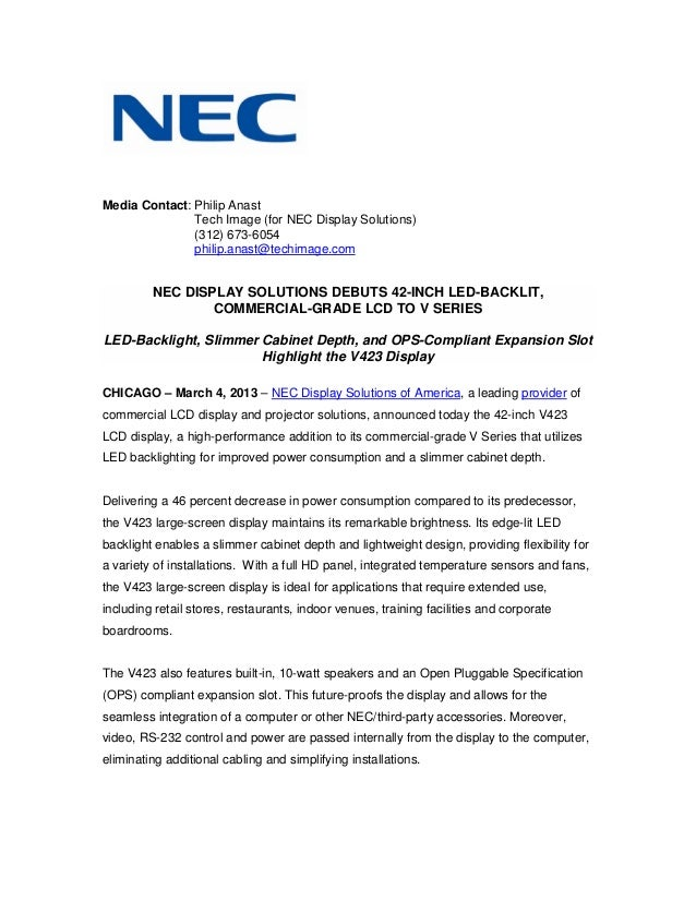 Nec display solutions debuts 42 inch led-backlit, commercial-grade lcd to v series