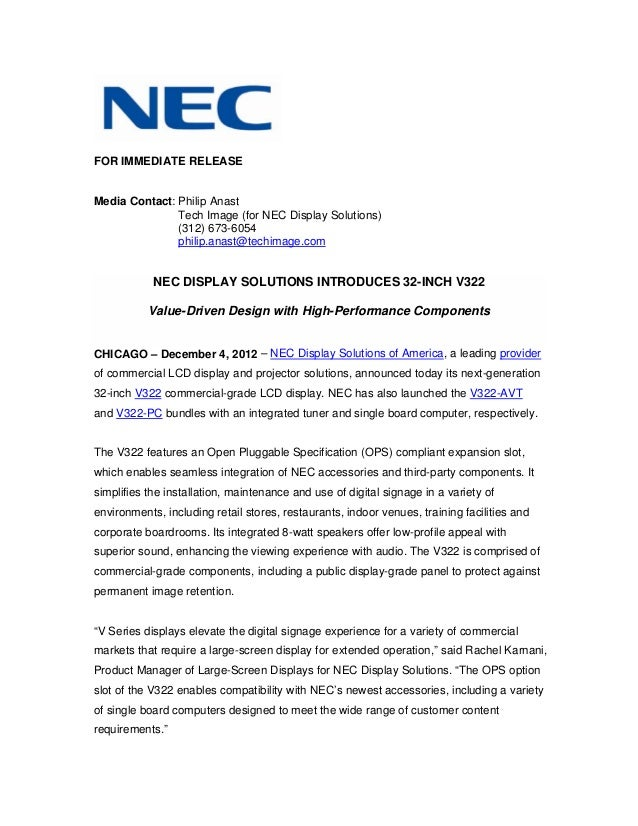 Nec display solutions introduces 32 inch v322