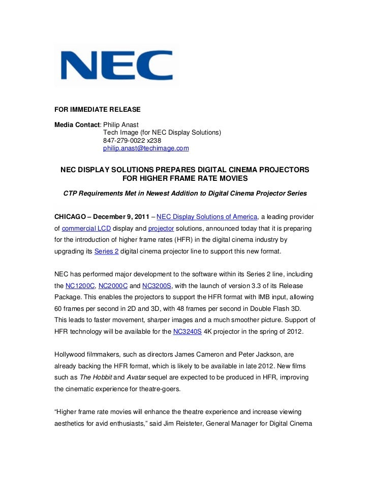 Nec display solutions prepares digital cinema projectors for higher frame rate movies