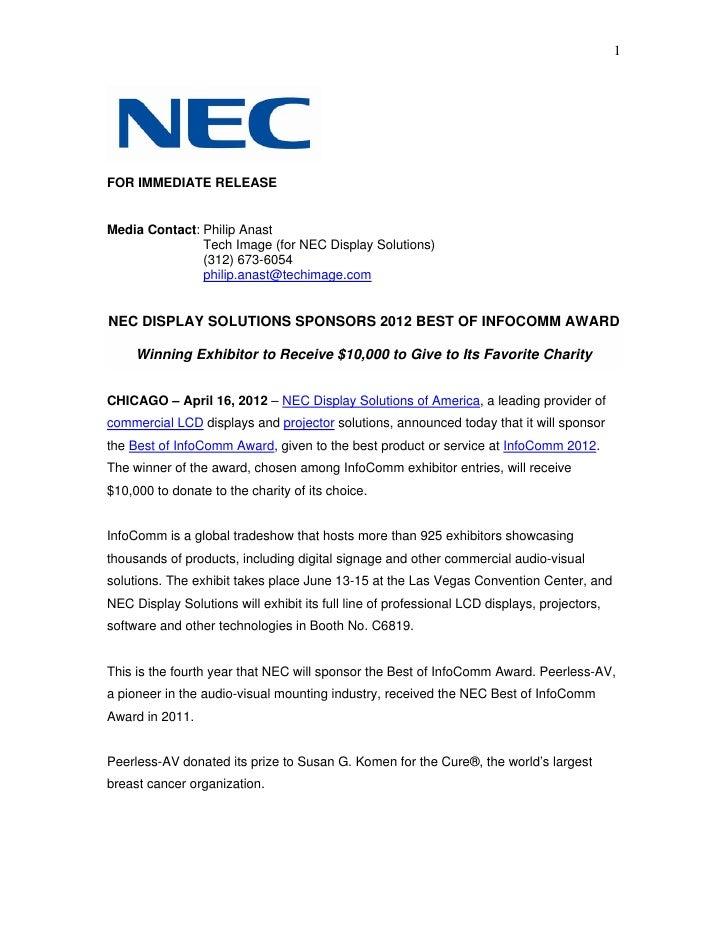 Nec display solutions sponsors 2012 best of infocomm award