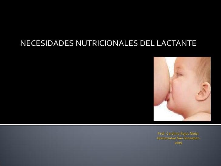 NECESIDADES NUTRICIONALES DEL LACTANTE