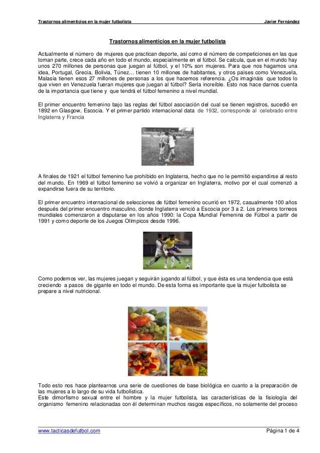 Trastornos alimenticios en la mujer futbolista                                                 Javier Fernández           ...