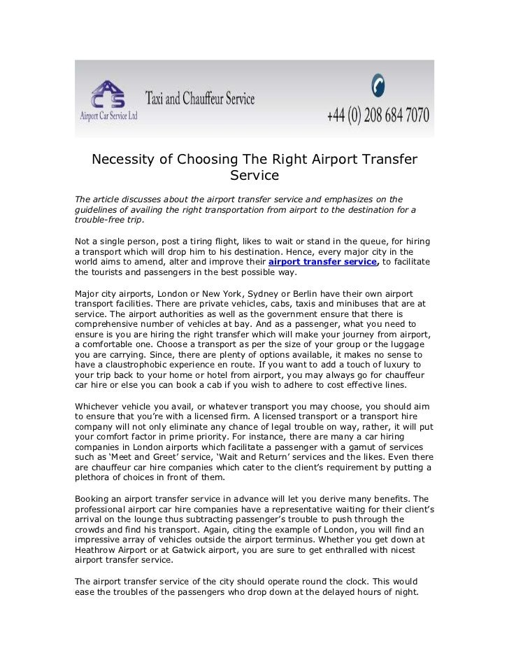 Necessity of Choosing The Right Airport Transfer Service