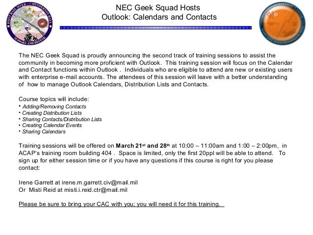 NEC Geek Squad Training Session - Outlook Calendars and Contacts
