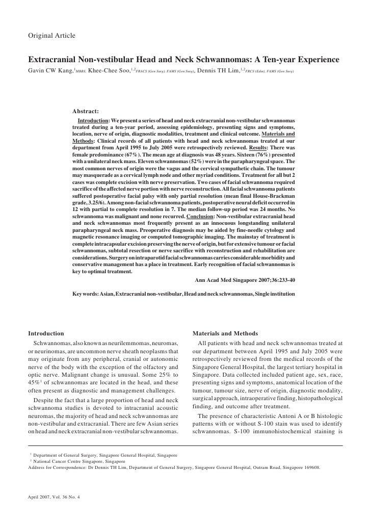 Extracranial Head and Neck Schwannomas—Gavin CW Kang et al     233Original ArticleExtracranial Non-vestibular Head and Nec...